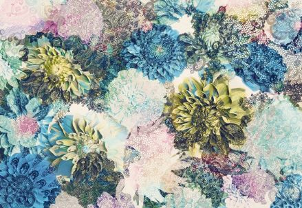 Vintage blue flowers wall mural